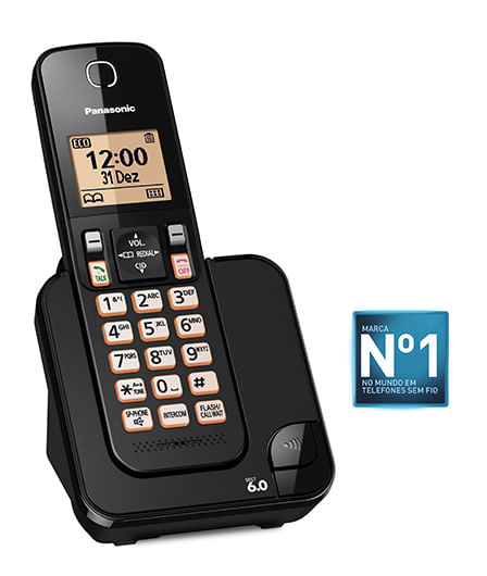 Telefone Sem Fio Panasonic Com Viva Voz Preto KX-TGC350LBB